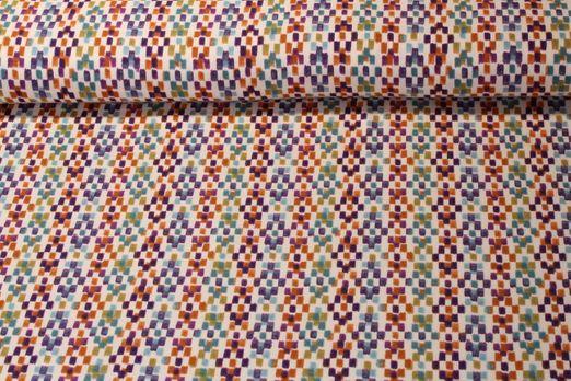 Jersey gemustert - Stempeldruck Weiß Lila Multicolor
