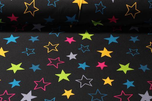 Softshell gemustert - Sterne Schwarz Multicolor
