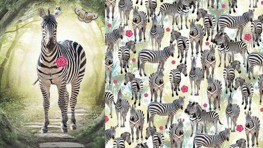 Sweat gemustert - Sommersweat French Terry Digitalprint Panel Zebra Multicolor
