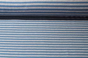 Alpenfleece - Streifen Grau Jeansblau