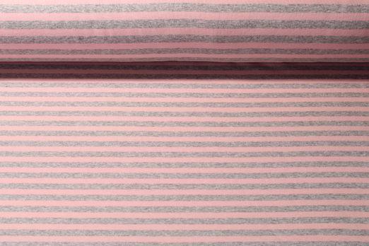 Alpenfleece - Streifen Grau Rosa