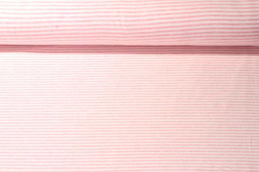 Jersey gestreift - Soft Touch Weiß Rosa