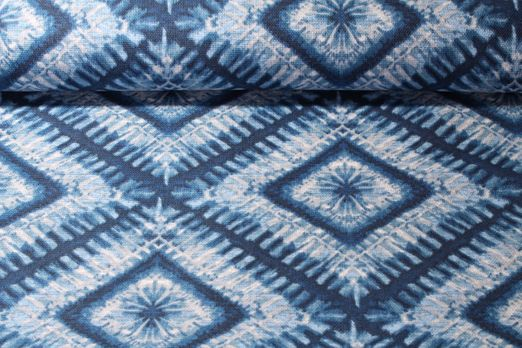 Canvas gemustert - Batik Blau Multicolor