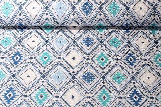 Canvas gemustert - Rautenmuster Blau Multicolor
