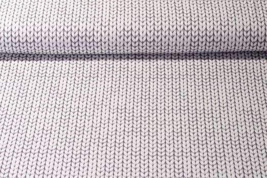 Jersey gemustert - Printed Knitted Grau