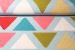 B-Ware Canvas gemustert - ZickZack Dreiecke Hellblau Multicolor 001