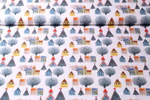 Baumwolle gemustert - Weihnachten in der Stadt Weiss Multicolor