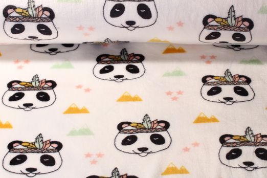 Fleece - Printed Fleece Panda Indianer Weiss Multicolor