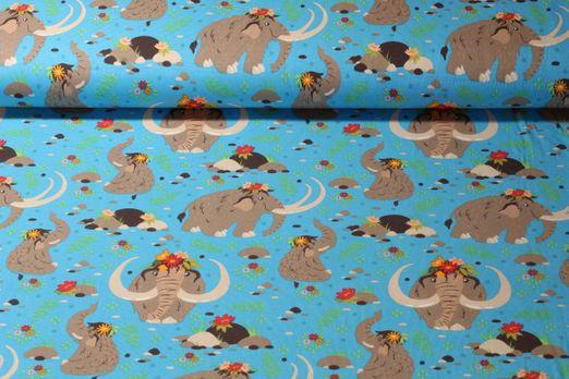Jersey gemustert - Manni das Mammut Türkis Multicolor