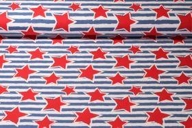 Jersey gemustert - Sterne Blau Weiß Rot