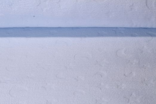 Fleece - Babyfleece uni Mond und Sterne Prägung Hellblau