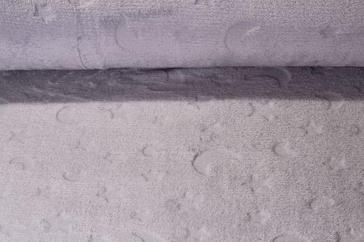 Fleece - Babyfleece uni Mond und Sterne Prägung Grau