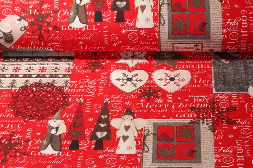 Canvas gemustert - Merry Christmas Rot Multicolor