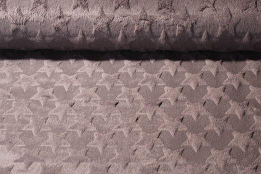 Fleece - Plüschfell Sterne Uni Grau