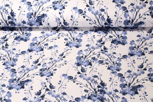Sweat gemustert - French Terry angeraut Blütenensemble Weiß Blau