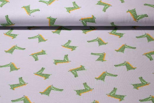 Jersey gemustert - Coole Krokodile Grau Multicolor