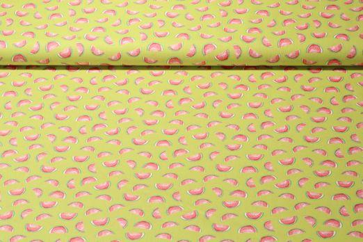 Baumwolle gemustert - Wassermelone Lime Multicolor