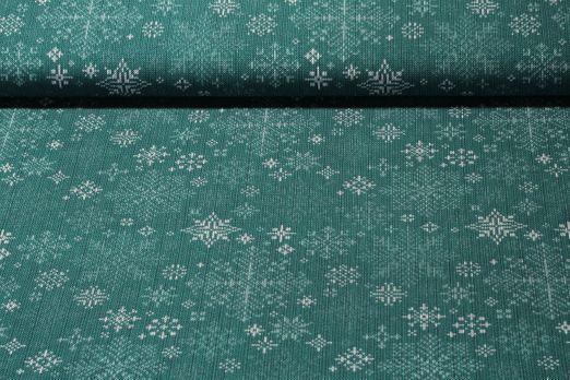 Jersey gemustert - Stickdesign Schneekristalle Grün