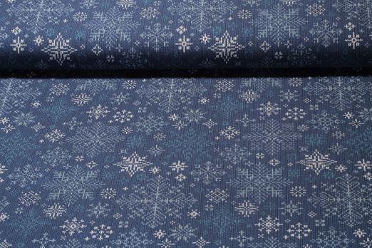 Jersey gemustert - Stickdesign Schneekristalle Blau