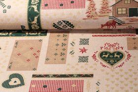 Canvas gemustert - Christmas Patch Beige Leinenlook Multicolor
