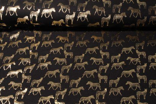 Jersey gemustert - Foilprint Zebra Schwarz Gold