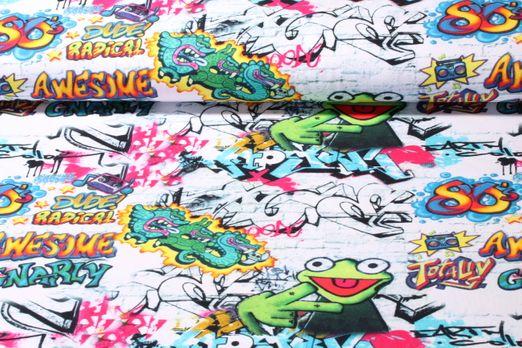 Jersey gemustert - Graffitifrosch Grau Multicolor