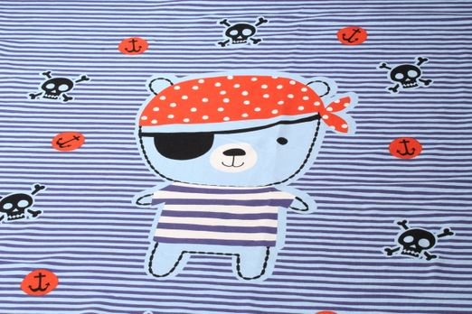 "Jersey gemustert - Panel Piratenbär ""Made with Love"" Hellblau Multicolor"