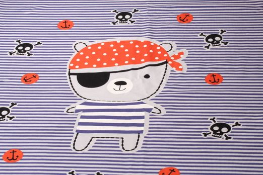 "Jersey gemustert - Panel Piratenbär ""Made with Love"" Grau Multicolor"