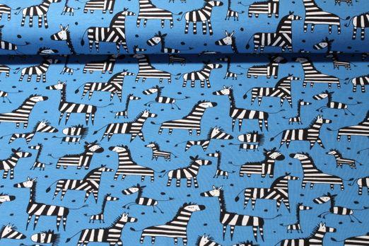 Jersey gemustert - Happy Zebra Blau Multicolor