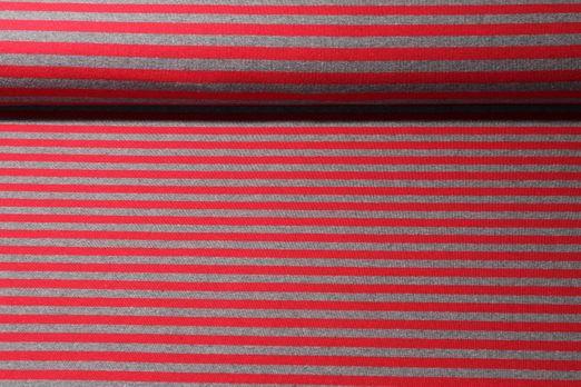 Sommersweat Sonic gestreift - Maxi Stripe Grau Melange Rot