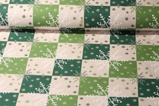 Canvas gemustert - Schneeflocke Grün Beige Leinenlook