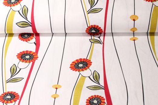 Canvas gemustert - Blumenranken Weiß Rot Multicolor