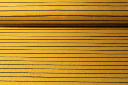 Sommersweat - Yarn Dyed Sweat Streifen Ocker Anthrazit