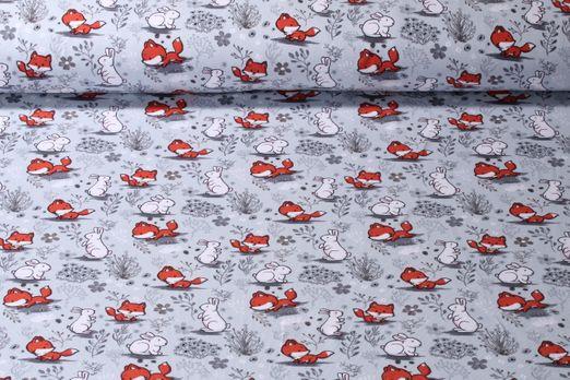 Jersey gemustert - Fuchs und Hase Grau Multicolor