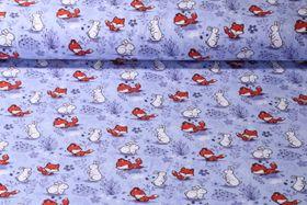 Jersey gemustert - Fuchs und Hase Lila Multicolor