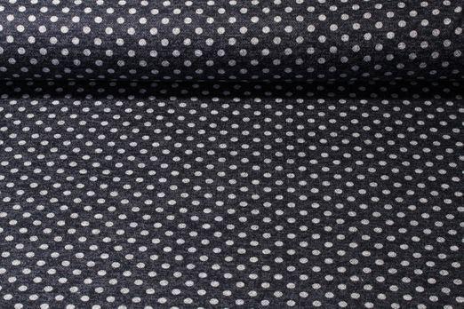 Modestoffe - Punkte Navy Grau Melange