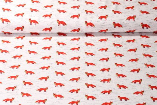 Jersey gemustert - Fancy Fox Weiß Melange Multicolor