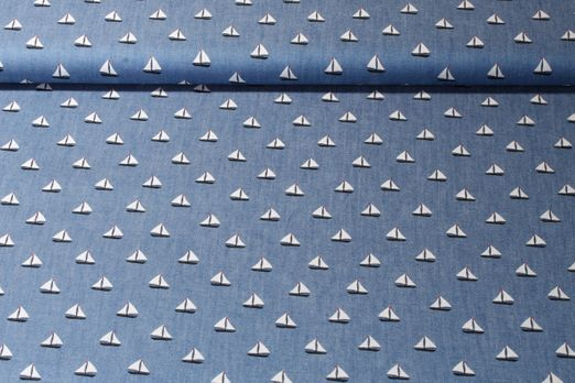 Jeans - Segelboote Blau Weiß