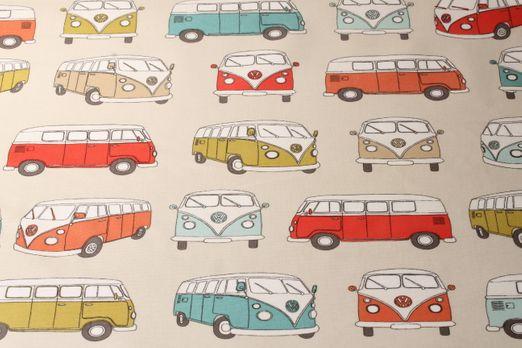 Beschichtete Baumwolle - VW Campervan PVC-Beschichtet Beige Multicolor