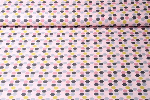 Baumwolle gemustert - Waben Rosa Multicolor