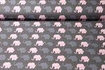 Jersey gemustert - Elefantenparade Rosa Grau 001