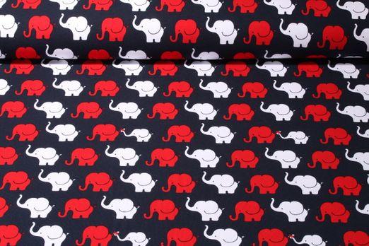 Jersey gemustert - Elefantenparade Navy Rot Weiss