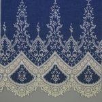 Baumwolle gemustert - Jeans Bestickt Spitzenkante Navy Off White 001