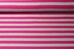 Jersey gestreift -Blockstreifen Grau Melange Pink 001