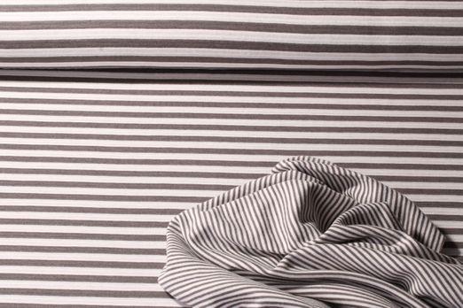 Jersey gestreift - Stripes Doubleface Grau Weiss