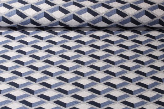 Jersey gemustert - Jacquard Albstoffe Check Point Kollection Honeycomb Hamburger Liebe Blau Multicolor