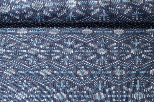 Jersey gemustert - Check Point Jacquard 3D Knit Knit Snowflake GOTS  Hamburger Liebe Blau