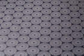 Beschichtete Stoffe - Mandala Navy Weiss