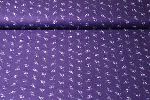 "Baumwolle gemustert - Trachtenstoff ""Edelweiss"" Blütenzweig Lila Multicolor"