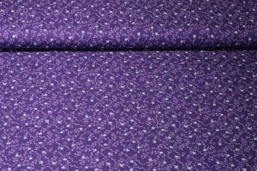 "Baumwolle gemustert - Trachtenstoff ""Edelweiss"" Blumenranke Lila Multicolor"